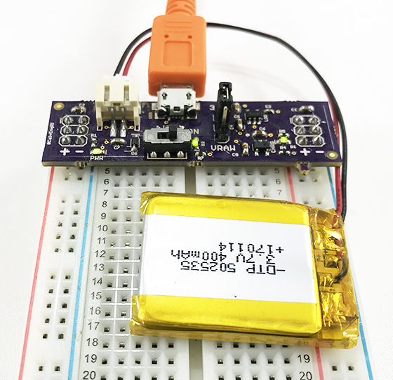 Image of LiPo Battery Breadboard Power Supply with Charging