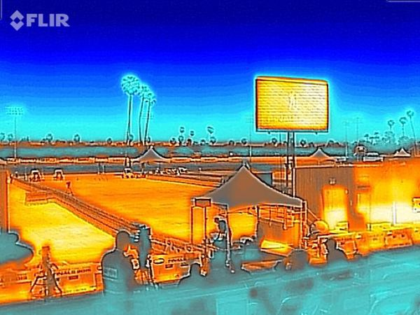 Thermal Image of a stadium ground and audience